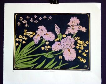 Hand printed 5 color reductive linoleum block print: Lavender Queen, lavender irises with indigo/black background