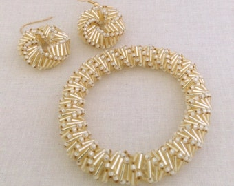 Golden Helix Bracelet And Earring Beading Pattern Tutorial Beadweaving Russian Spiral Bugle Bead Pattern Seed Beads