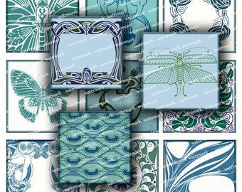 Art Nouveau designs, blue ornament, Vintage background  2,5 in squares -  Digital Collage Sheet, Download and Print Jpeg Clip Art Images 110
