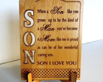 Customized Gift for My Son, Keepsake Plaque for Son, Mom-Dad to Son Gift, Gift for Special-Caring-Loving Son, Son Appreciation Gift, PS002