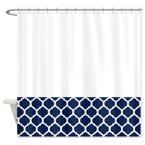 Quatrefoil Shower Curtain-White and Navy Blue Pattern or