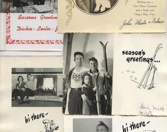 Vintage Photo Christmas Card Lot Fun photos