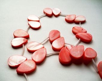 Hot pink river shell tear drop beads