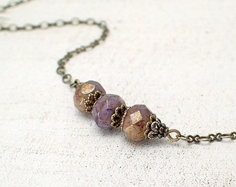 Antiqued Lavender, Ivory and Bronze Artisan Czech Glass Rondelle Bar Necklace in Antiqued Brass - Nickel Free Jewelry