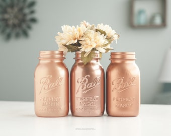 Copper Vases, Copper Decor, Copper Wedding, Copper Home Decor, Copper Centerpieces, Bridal Shower