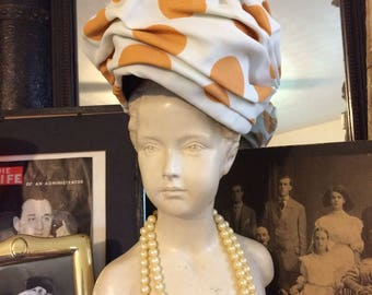 Vintage 50s Emme Gold White Polka Dot Old Hollywood Ladies Summer Turban Hat