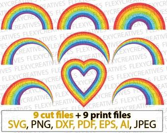 Rainbow SVG, Rainbow Cut File, Rainbow png, Rainbow magic, Rainbow heart, Rainbow shirt vector, clipart, cricut  DXF, pdf, EPS #vc-111