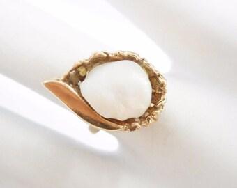 Vintage Rings, Pearl Ring, Vintage Pearl Ring, Gold Pearl Ring, Vintage Ring, Rings, 14k Yellow Gold Large Pearl Ring Sz 6 #2227