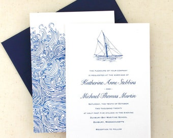 Sailboat and Waves Wedding Invitation Set - For a yacht club weddings or weddings on a boat, free website card, double sided printing