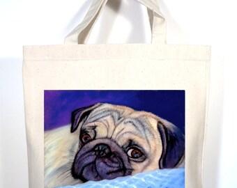 Pug Tote, Pug Tote Bag, Personalized Pug Gift, Pug Shopping Bag, Pug Book Bag