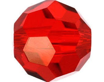 Swaovski round bead 5000 light siam 8mm - Quantity of 12 beads - red crystal