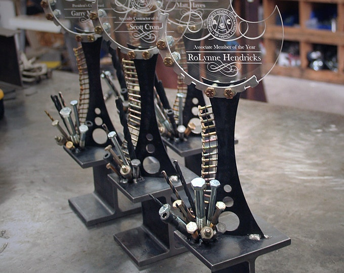 Metal Trophy Made from Recycled Industrial Hardware and I-Beam