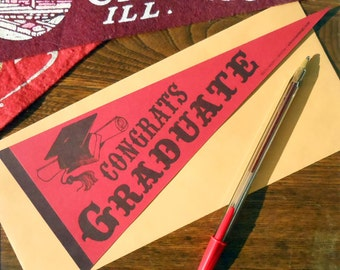 letterpress congrats graduate vintage pennant flat card red & navy high school, college graduation card or decoration