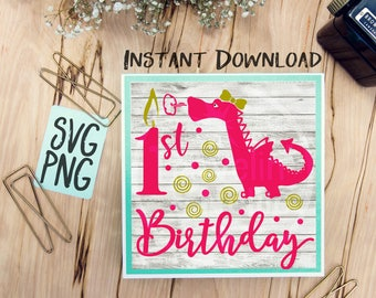 1st Birthday Dragon Girl SVG Print or Cut File Great for Shirts Signs Cards Etc. Silhouette Studio Cricut Cameo Vinyl Sublimation First One