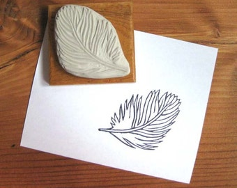 Fluffy Feather - Hand-Carved Stamp