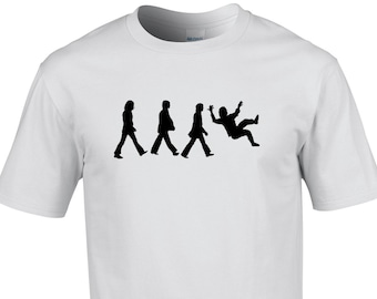 Mens T-shirt - Funny parody of the Abbey road Beatles walk, John slipping over.