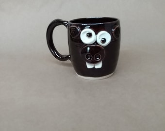 Piggie Face Mug. Microwave Dishwasher Safe Handmade Stoneware Pottery Coffee Cup in Dark Chocolate Black. Mother's Day Gift for Mom.