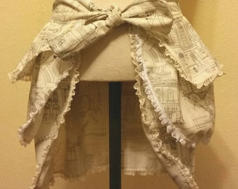 Tie Front Bustle Skirt with Delicate Vintage Lace and French Architecture Pattern, size small.