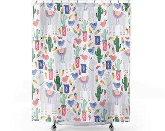Friendly Llama Curtain U0026 Bathmat | Cactus Bathroom Decor | Llama Bath  Curtain | Long Shower