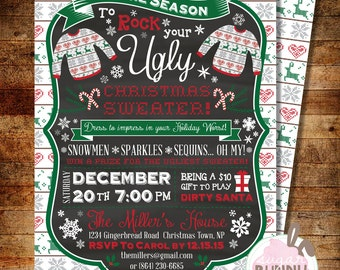 Ugly Christmas Sweater Party Invitation - DIY Printable