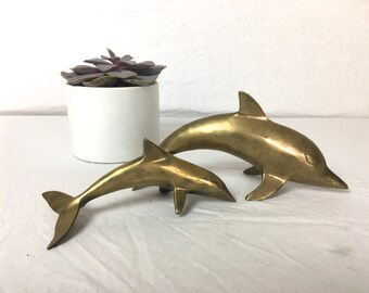 Pair of Vintage Brass Dolphins, Brass Dolphin Figurines, Brass Dolphin Statues