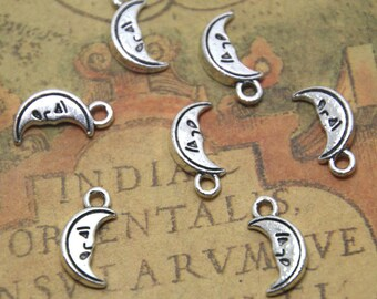 30pcs Moon charms silver tone moon Pendants / charms 18x12mm ASD1428