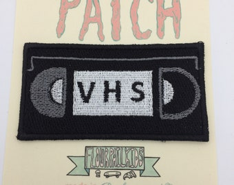 VHS tape Cassette iron on embroidered patch