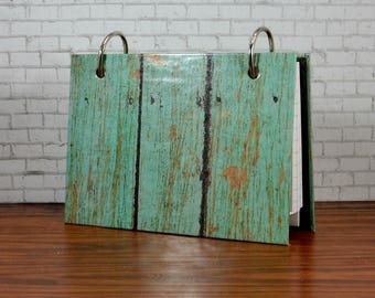 3 x 5 or 4 x 6 index card laminated binder, turquoise weathered barn wood, journal diary, recipe binder, index card holder with tab dividers
