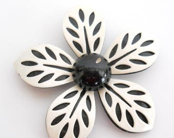 Vintage Enamelware Brooch • Modern Flower Pin • Black and White