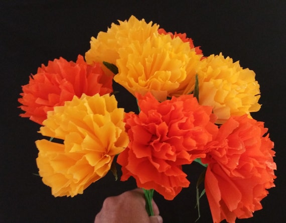 Day of the dead 12 orange and yellow crepe paper peony mightylinksfo