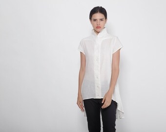 Plus Size Clothing, Petite Dress, White Linen Shirt, Tunic Top, Shirt Dress, Asymmetric Tunic, Oversize Top, White Blouse, Kimono Top