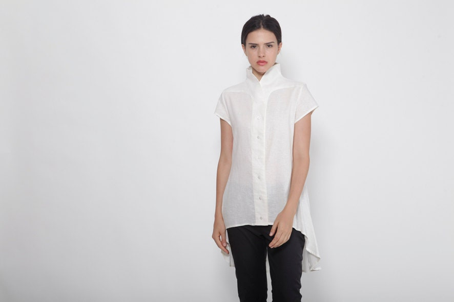 Plus Size Clothing Petite Dress White Linen Shirt Tunic