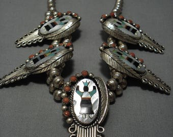 Quality Vintage Navajo Turquoise Coral Sterling Silver Squash Blossom Necklace