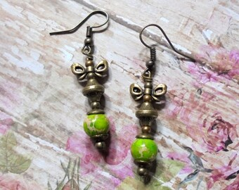 Lime Green and Brass Earrings (2980)
