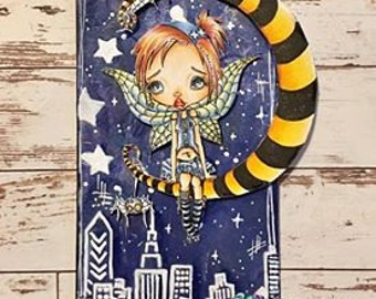 Digi Stamp Digital Instant Download Big Eye Creepy Cute Fairy Girl ~ Creepy Claire Image No. 64 & 64B by Lizzy Love