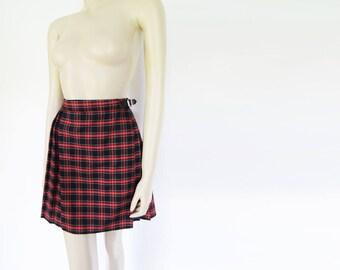90s Skirt, UK14, Kilt, Mini Skirt, Wrap Around, Japanes Schoolgirl,Ladies Clothing, Retro Skirt, Short Skirt, Tartan Skirt, Vintage Clothing