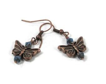 Copper Butterfly and Blue Swarovski Earrings
