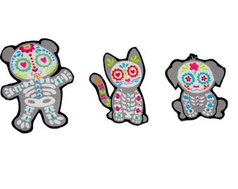 On SALE Punk Baby - Skull Patch - Day of the Dead - Sugar Skulls - Skeleton Animals  - Diy - Iron On - Fabric Appliques Set of 3 or 1