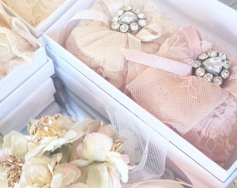 scented sachets. lace rose scented sachets. wedding gift. home fragrance . rose sachets.