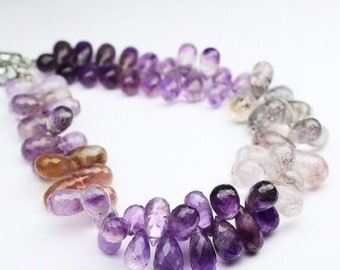 Rutile Amethyst Faceted Briolette Tear Drop Gemstone Loose Beads 12mm 10mm 12pc - Jewelry Making
