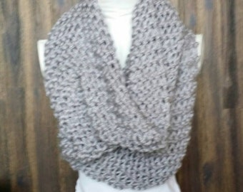 Oversized Super Chunky Hand Knitted Grey Cowl