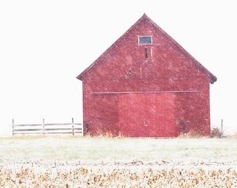 Winter Landscape, Red Barn, Snow Photograph, Snowy Red Barn Print, Country Art Print, Rustic Barn Print, Farmhouse Decor, Winter Canvas Art