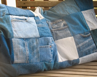 Upcycled Denim Pillow Shams - Jean Patchwork