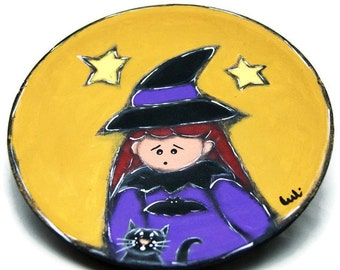 Wooden plate with witch and black cat - Wooden tray with halloween witch and cat - Halloween decoration