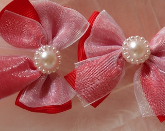 Red organza bow