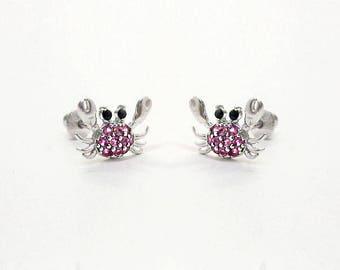925 Sterling Silver Cubic Crab Baby Girls Children Screwback Earrings