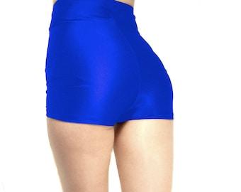 High waisted shiny spandex shorts Hot pants Royal Blue White