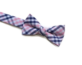 Navy and Pink Tattersall Boys Bow Tie~Navy blue tie-Boys Bow Tie~Boys Bowtie~Boys Tie~Wedding Tie~Cotton Bow Tie~Pre-Tied Tie