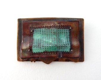 Vintage Artisan Copper and Enamel Brooch