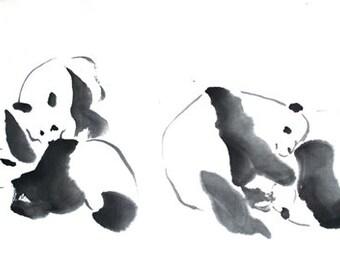 Pandas at Play II 12x20 Print